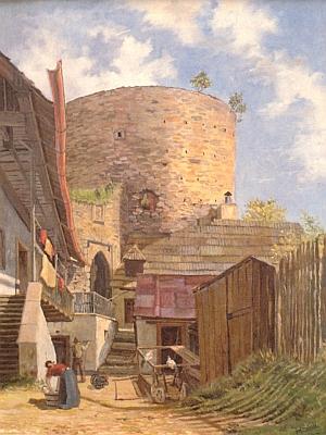 """Jeho olejomalba, zachycující vimperský """"Zaječí hrad (""""Haselburg"""")"""