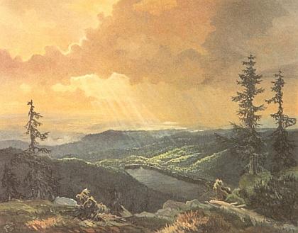 Další olejomalba zobrazuje Plešné jezero