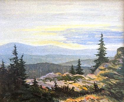 """Jeho obraz s názvem """"Böhmerwaldberge"""", tj. """"Šumavské hory"""""""