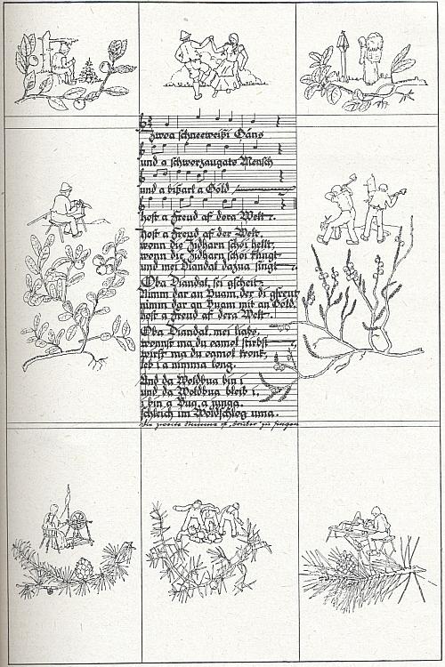 Ilustrace k šumavským německým nápěvům