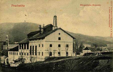 Měšťanský pivovar v Prachaticích na staré pohlednici