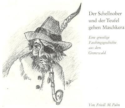 Jeho titulní kresba k masopustní povídce Friedl Mally Palmové v krajanském kalendáři