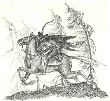 Signovaná kresba z roku 1964 k básni Seppa Skalitzkyho oStilzelovi