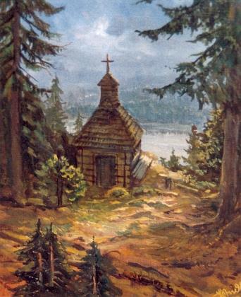 Obraz Kaple na Roklanu nese také jeho signaturu