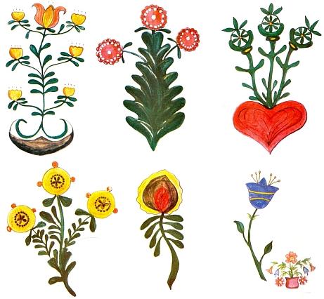 Barevné ornamentální motivy ze skříní a truhel v někdejších Starých Hutích (dnes část obce Nové Hutě), jak doprovázely jeho text o lidovém umění