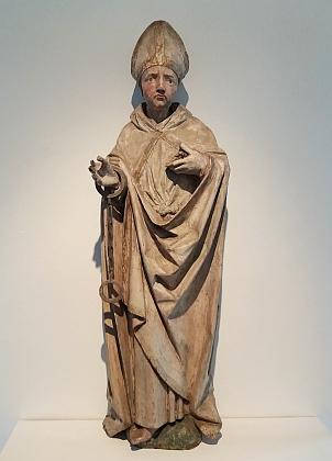 Oltářní plastika sv. Linharta z dnes již neurčitelného kostela na Českokrumlovsku (kolem roku 1500), dnes ve sbírkách Regionálního muzea v Českém Krumlově