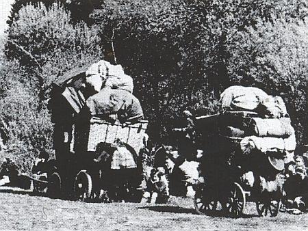Němečtí uprchlíci před Rudou armádou v okolí Vimperka