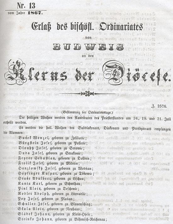 Titulní list diecézního věstníku se jmény novokněží v roce 1864 i s jeho jménem (spolu s ním byl toho roku vysvěcen, jak vidno, i Adolf Rodler)