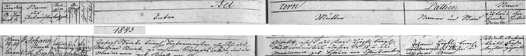 Záznam o jeho narození v křestní matrice farní obce Rychnov nad Malší s přípisem o datu jeho vysvěcení na kněze a také datu jeho úmrtí v Hodňově
