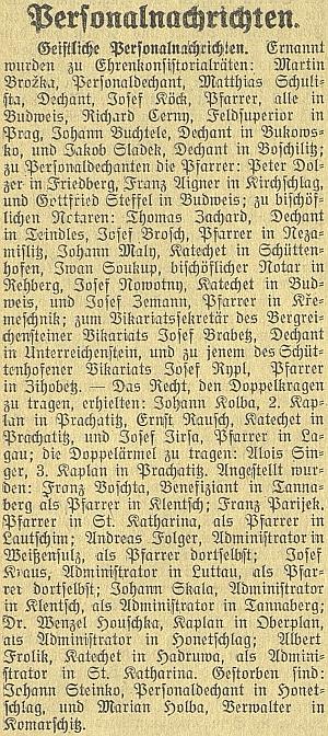 Jen letmo je zmíněno jeho úmrtí i na stránkách českobudějovického německého listu