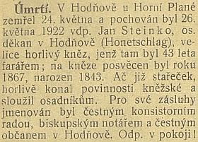 """Krátký český nekrolog na stránkách orgánu """"česko-slovenské strany lidové"""" (ta už tehdy dodržovala pomlčku!)"""