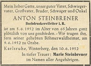 """Parte jednoho ze Steinbrenerů, """"šéfa knihtiskárny v.v."""", který zemřel v červnu roku 1952 v dalekém Karlsruhe..."""