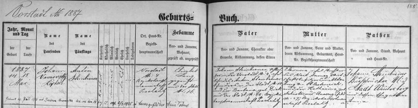 ... a záznam o jeho narození a dvou svatbách, té jedné s Barbarou Hromadkovou ve Vimperku roku 1920 a té druhé sMarií Trömlovou v Kvildě roku 1935, podepsaný kmotrem, knihtiskařem Johannem Steinbrenerem