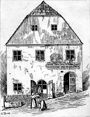 """První sídlo firmy v domě """"U slona"""" v někdejší vimperské Školní ulici"""