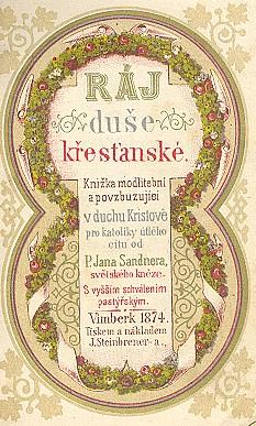 """Titulní list jedné z českých modlitebních knih z """"Vimberka"""" (1874)"""