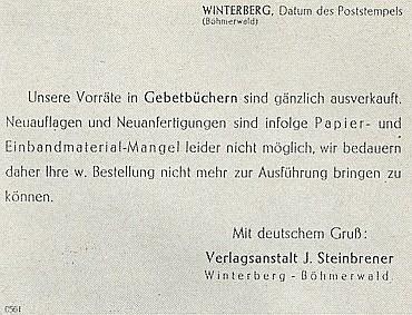 Oznámení vimperských tiskáren o zastavení dotisků modlitebních knih pro válečnou nouzi