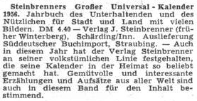 """Ještě roku 1955, deset let po odsunu, ohlašoval list Sudetendeutsche Zeitung nový Steinbrenerův Velký universální kalendář, ikdyž psal vydavatelovo jméno mylně se dvěma """"n"""""""