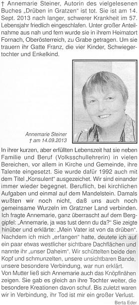 Její nekrolog v krajanském časopise napsala Berta Ederová