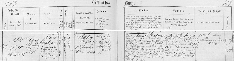 Záznam vimperské křestní matriky o jeho narození s pozdějším přípisem o jeho civilní svatbě v roce 1940