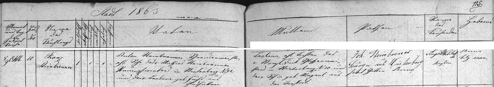 Záznam vimperské křestní matriky o narození otcově