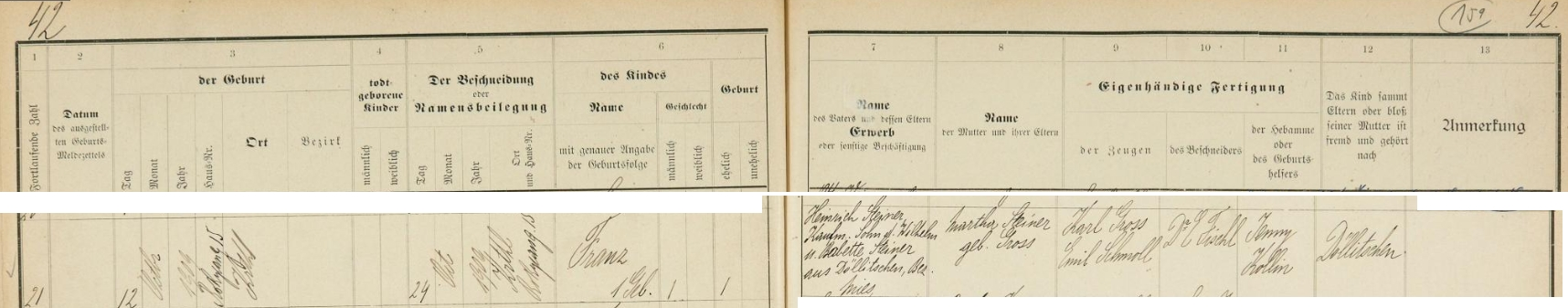 Podle tohoto záznamu židovské matriky z tehdy samostatného, dnes pražského Karlína se tu na adrese Karolinenthal, Rokycangasse 15 narodil dne 12. října roku 1909 a po obřízce 24. října dostal jméno Franz - otec Heinrich Steiner je uveden jako obchodník a syn Wilhelma Steinera a jeho ženy Babette, rodem z Telic (Döllitschen), okr. Stříbro (Mies), chlapcova matka Martha byla roz. Grossová, svědky při obřízce, kterou provedl Dr. E. Fischl, byli Karl Gross a Emil Schmoll, porodní bábou byla Jenny Kollinová