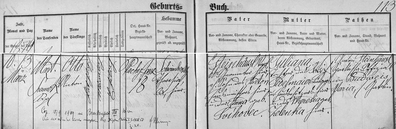 Záznam o jeho narození v českobudějovické křestní matrice s přípisy o jeho svatbě a vystoupení z církve