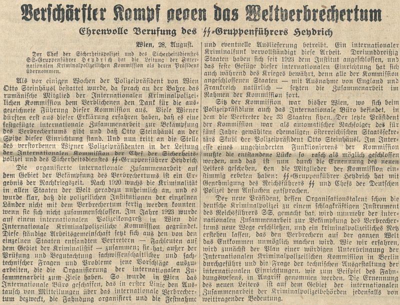 """Tady podle článku o """"zostřeném boji proti mezinárodnímu zločinu""""(!) předává vedení Interpolu do rukou Reinharda Heydricha"""