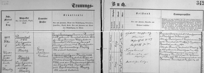 Záznam kaplické oddací matriky o svatbě jeho rodičů