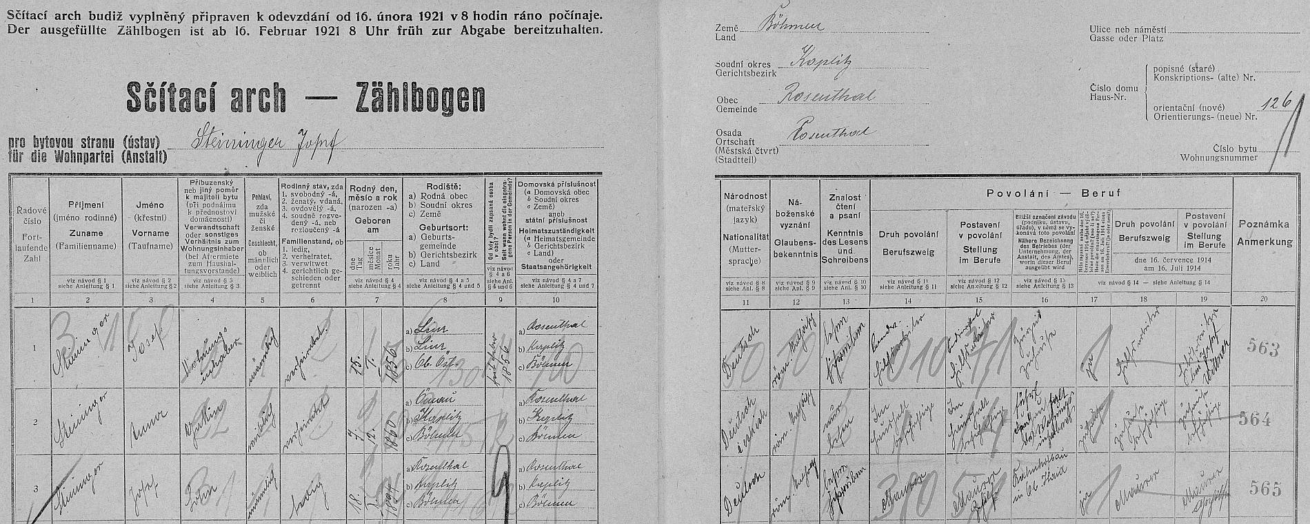 Arch sčítání lidu z roku 1921 pro stavení čp. 126 v Rožmitále na Šumavě s dosud neženatým otcem a jeho rodiči