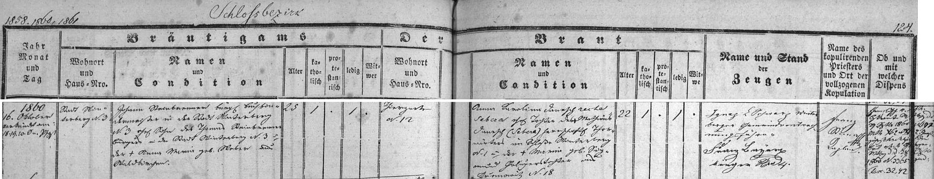 Záznam vimperské oddací matriky o jeho svatbě
