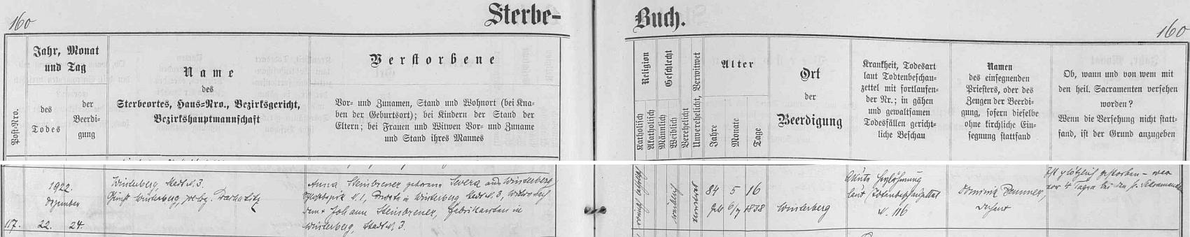 Záznam vimperské úmrtní matriky o skonu jeho ženy třináct let po něm