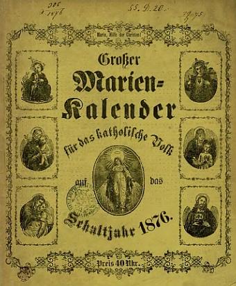 Titulní list Velkého mariánského kalendáře pro rok 1876