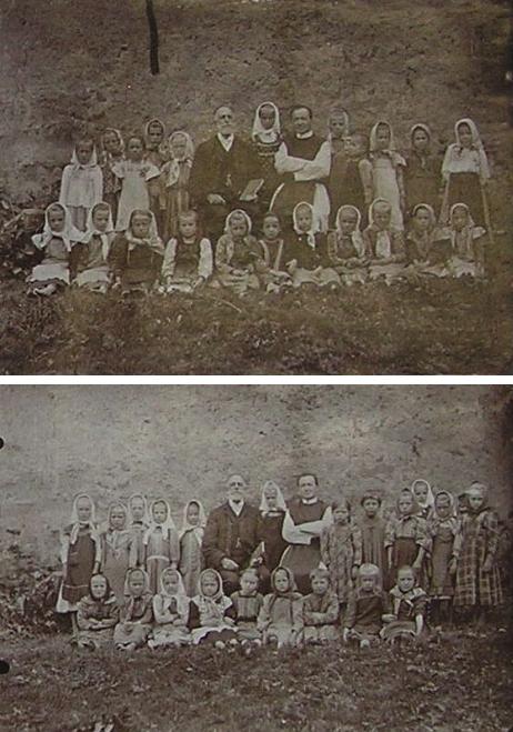 Na dvou snímcích je tu zachycen s první třídou žaček v roce 1912 ve společnosti katechety Stanislava Plonera, vyšebrodského cisterciáka, který zemřel až 10 let po odsunu západního Německa v říjnu roku 1957