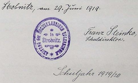 """V roce 1919 se tu skví naposledy jeho podpis vedle razítka ředitelství školy, která má podle projevu nového ředitele Adalberta Scherkla v odstavci o něco doleji z dětí, které do ní budou rodiče """"denně posílat"""", vychovávat """"pilné občany našeho nového státu (Československé republiky)"""""""
