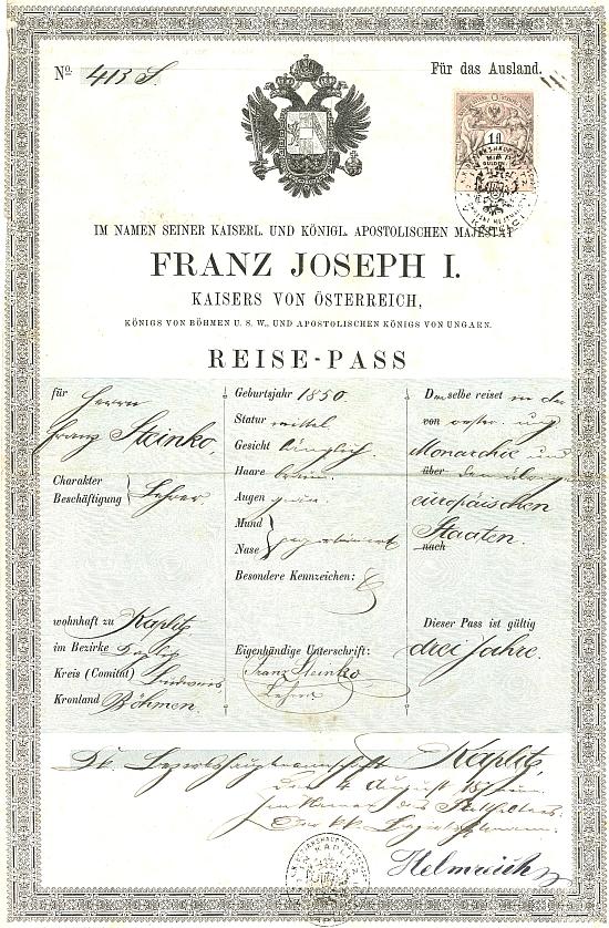 Jeho cestovní pas