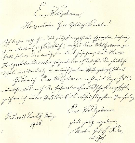 Poděkování biskupa Martina Říhy za zaslanou Steinkovu knihu
