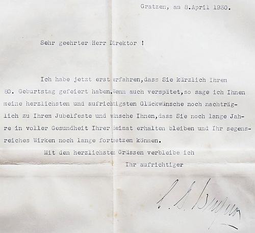Blahopřání hraběte Buquoye ke Steinkovým osmdesátinám v roce 1930