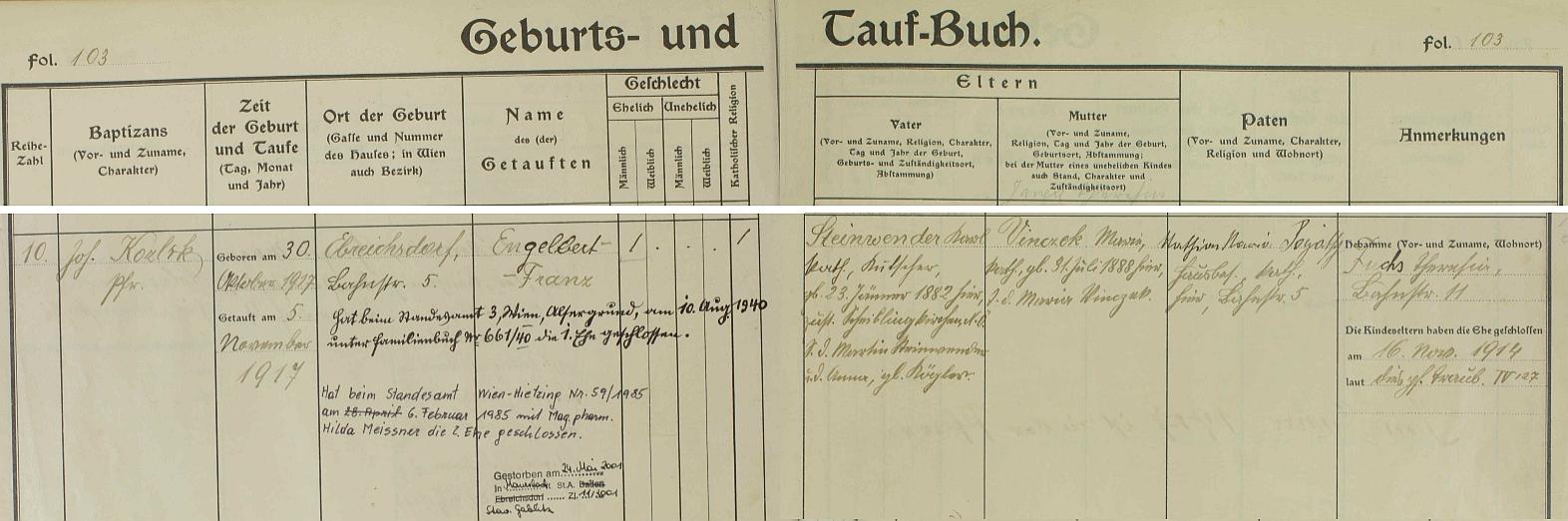 Záznam o jeho narození v křestní matrice dolnorakouské farní obce Ebreichsdorf