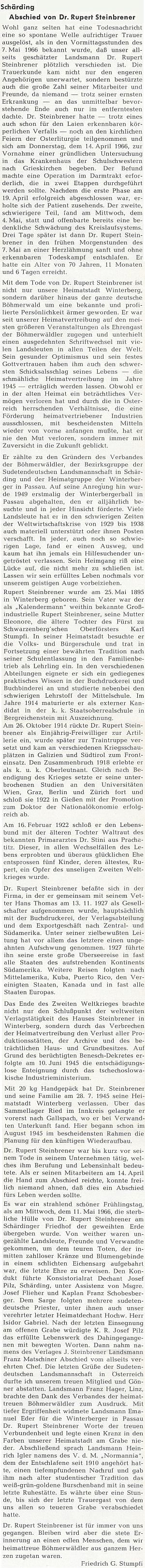 Obsáhlý nekrolog napsal do krajanského měsíčníku Friedrich Stumpfi