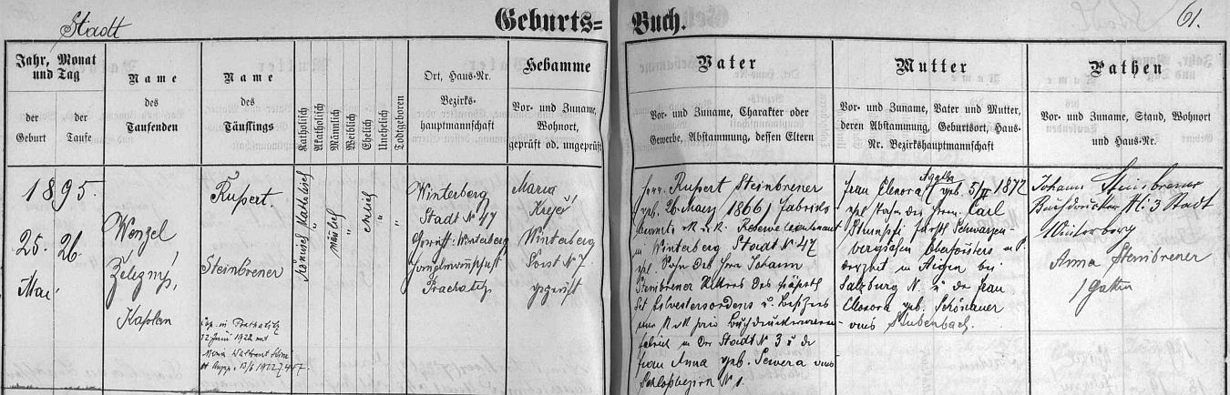 Záznam o jeho narození ve vimperské křestní matrice s přípisem o svatbě