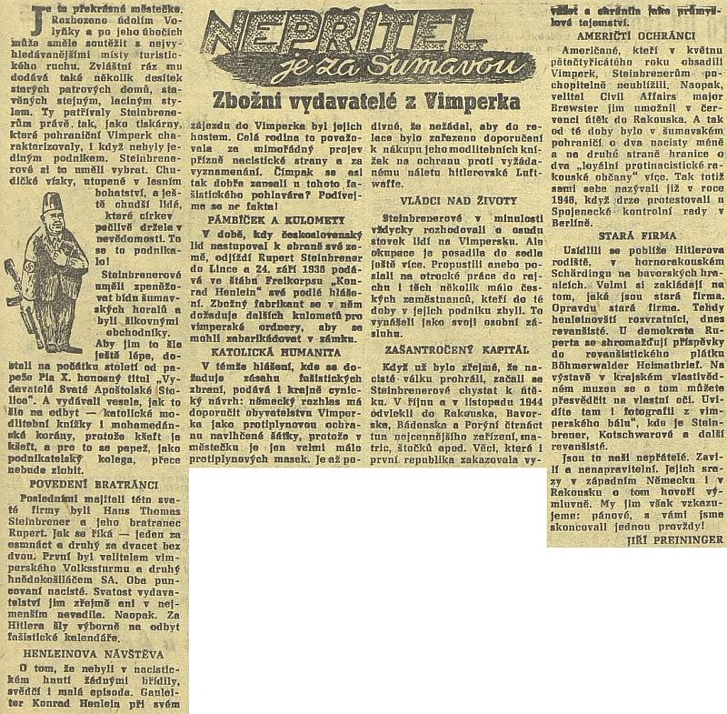 Článek Jiřího Preiningera v Jihočeské pravdě z prosince 1960