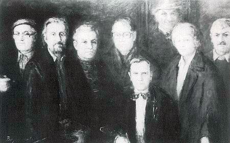 Na obraze Hermanna Ellera s ostatními členy malířského sdružení Bayerwald Kreis stojí druhá zprava, sedící je její adoptivní syn Gerhard Michel