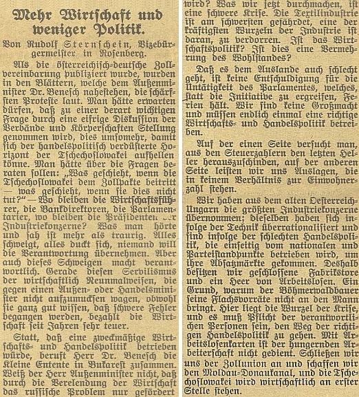 """Jeden z mnoha """"rožmberských"""" Sternscheinů tu jako zástupce starosty města roku 1931 navrhuje, aby Dr.Beneš místo paktování s Malou dohodou uzavřel celní unii s Rakouskem a Německem, v níž """"bude Československo stát na prvním místě"""""""
