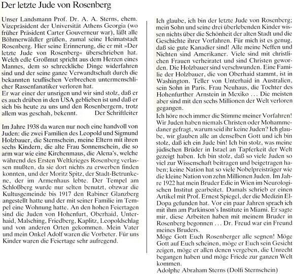 """Úvod a závěr Sternsovy vzpomínky na Rožmberk v krajanském časopise, adresované """"Rožmberským"""""""