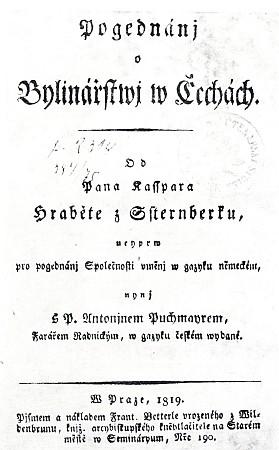Titulní list Puchmajerova českého překladu Sternbergova díla o rostlinstvu v Čechách