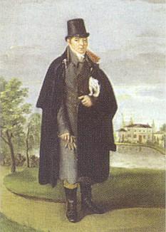 Před svým zahradním kasinem v Řezně na obraze Martina Josepha Bauera někdy z let, kdy putoval Šumavou