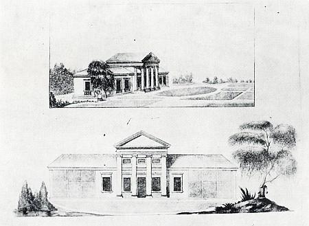 Návrh zahradníka Ilinga na uspořádání zahrady (1806) při Sternbergově letním zámečku v Řezně, jehož projekt byl dílem italského architekta Gianantonia Selvy