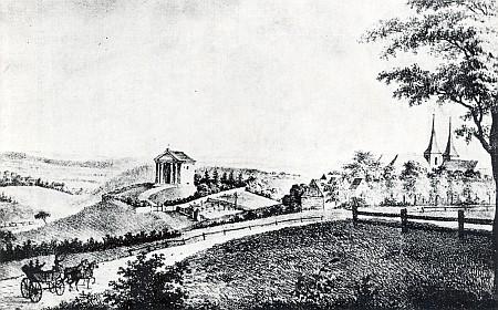 Rytina z roku 1827, která zachycuje honosnou hrobku k uložení Sternbergových ostatků v Horním Stupně u Radnic
