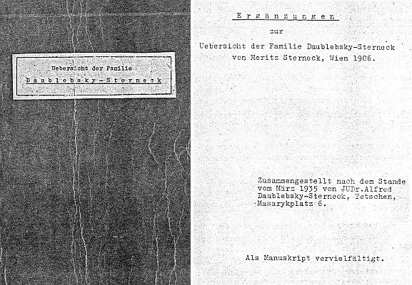 Ve fondu Jihočeské vědecké knihovny je i tento cyklostylovaný rodový přehled, který Alfred Daublebsky-Sterneck doplnil roku 1935