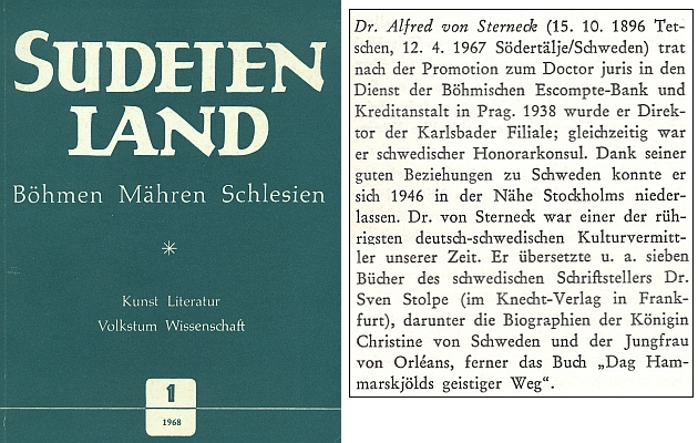 Nekrolog v časopise Sudetenland